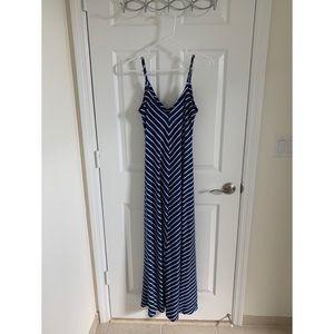 Navy blue stripped maxi dress, Small